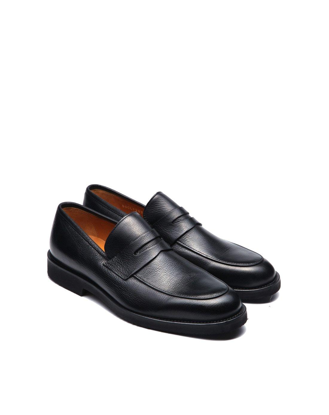 巴路士新品欧洲男士意大利进口牛皮欧美时尚车缝线套脚低帮商务鞋BICL120301