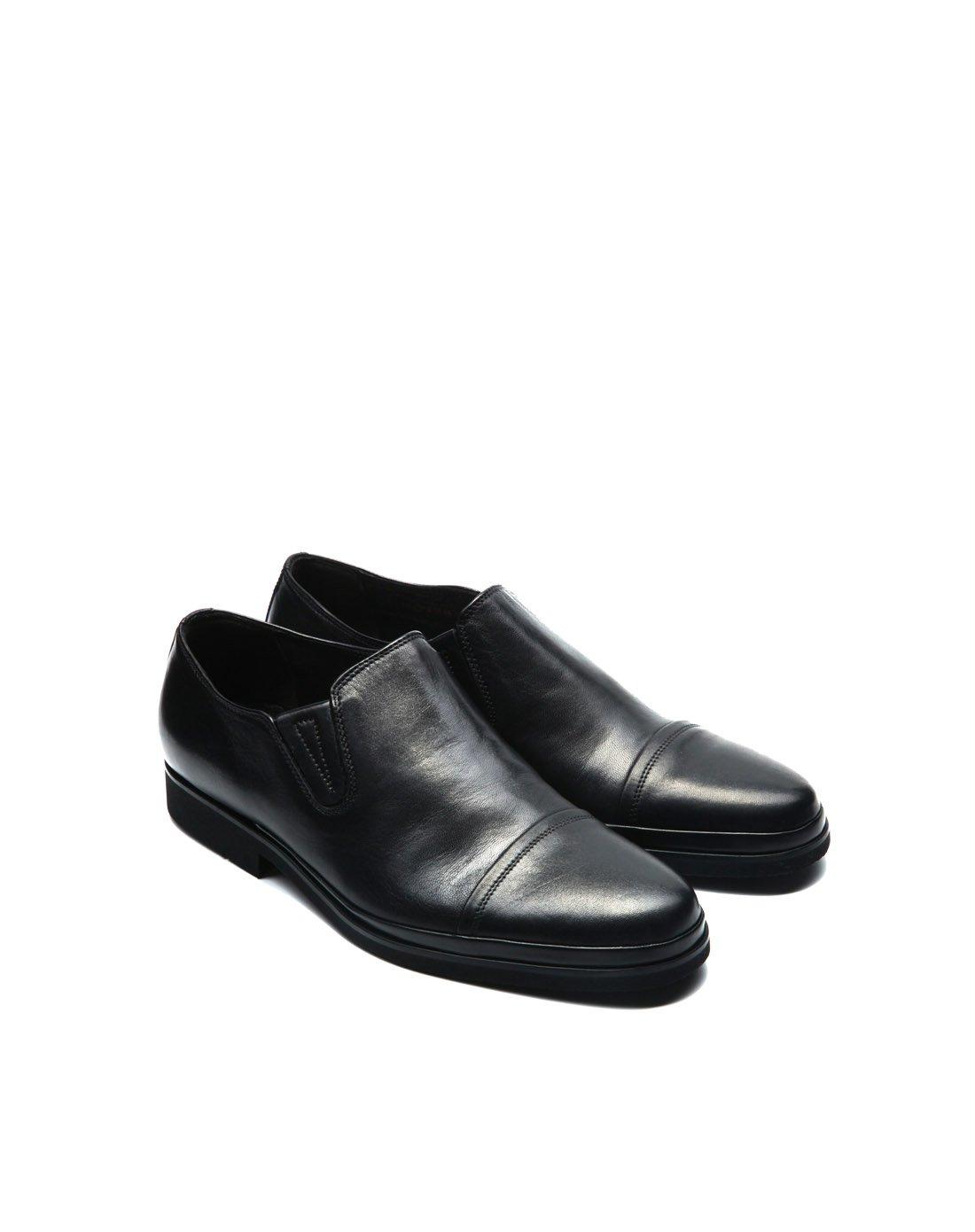 巴路士新品男士欧洲时尚羊皮欧美商务车缝线套脚低帮德比鞋BI120301