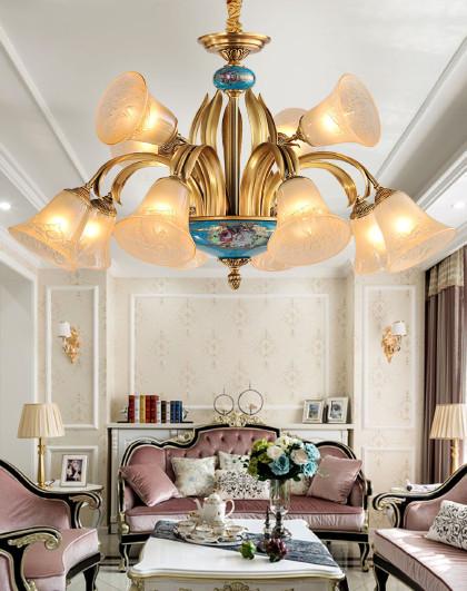 欧式复古奢华全铜客厅卧室灯具 美式陶瓷灯 吊灯