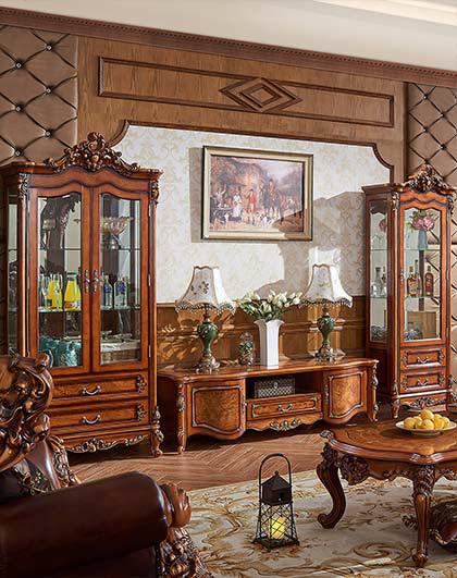 酒柜 美式实木雕花储物柜子 客厅酒柜 单双门储物酒柜
