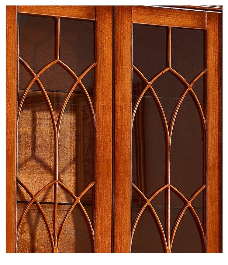梦美斯宣 实木酒柜 美式客厅展示柜 玄关双门玻璃红酒柜子 可储物