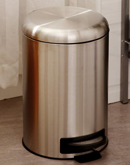圆形拉丝不锈钢垃圾桶 家用酒店用收纳桶环保桶