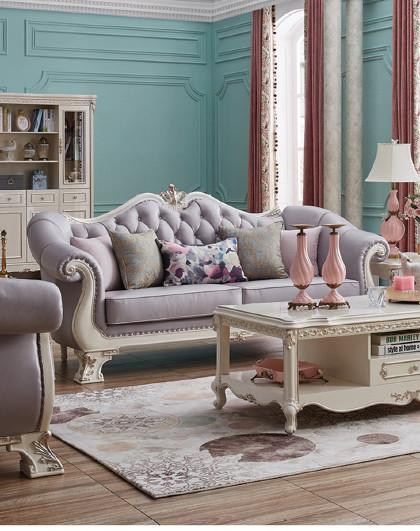 [小法维尼]2018年客厅家具欧式实木沙发大户型实木实木沙发组合单人位