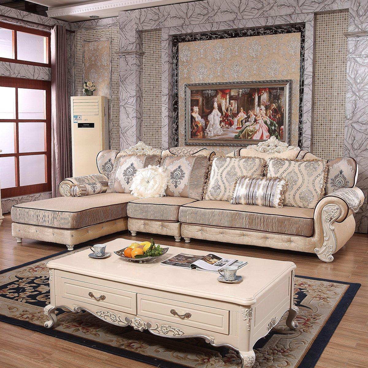欧式布艺转角沙发组合整装 简欧实木奢华客厅大小户型家具 高档压花