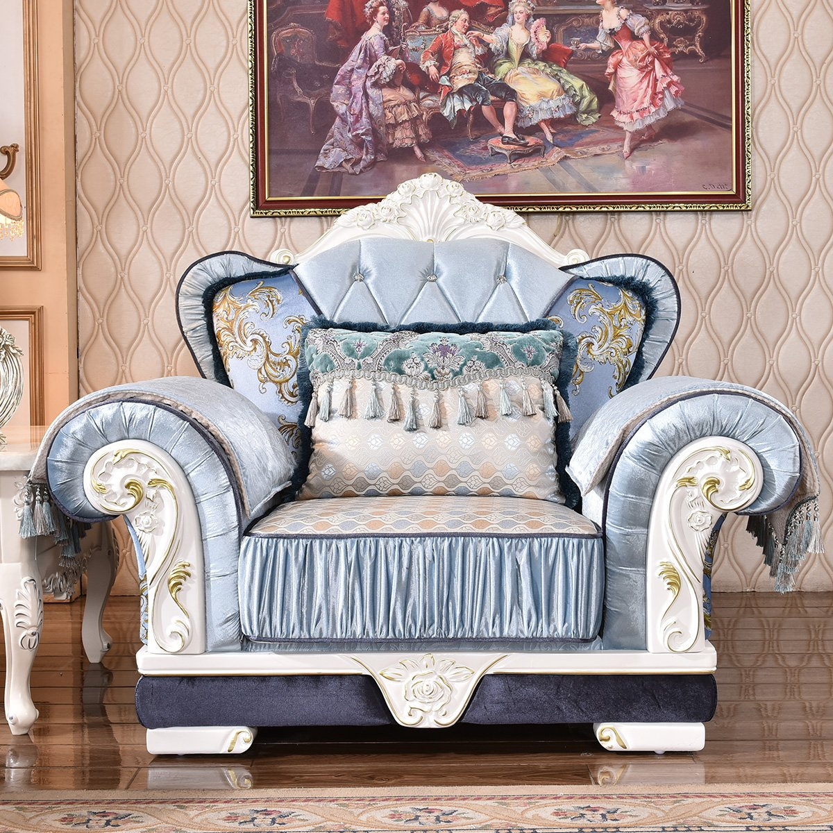 欧式沙发 客厅雕花实木沙发 布艺沙发1 2 4组合 欧式家具