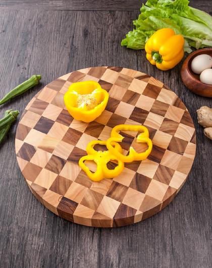泰国进口相思木棋盘格加厚圆形菜板