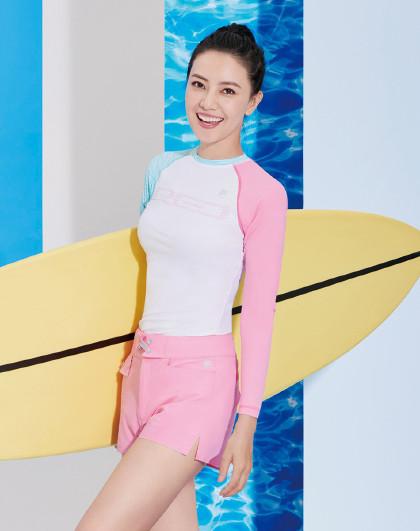 高圆圆同款2018新品 女款 拼色沙滩潜水服泳装长袖t