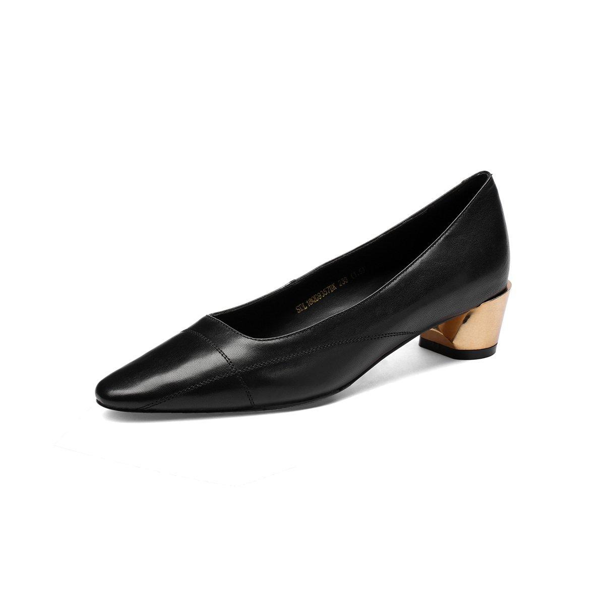 花晨月花晨月秋季新品羊皮时尚尖头金属浅口英伦女士单鞋四季鞋女SDL18QD9357BK