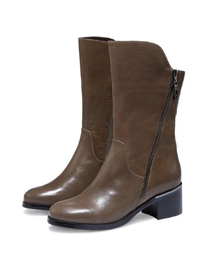 哈森2018冬季新款牛皮女靴 圆头粗跟中筒靴女ha85807图片