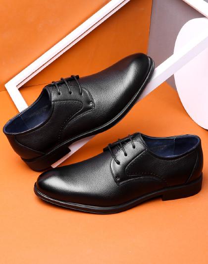 男鞋简约摔纹男士皮鞋职场正装商务男鞋德比鞋