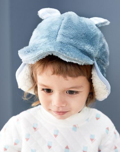 威尔贝鲁 婴儿宝宝珊瑚绒造型夹棉护耳帽子儿童外出帽