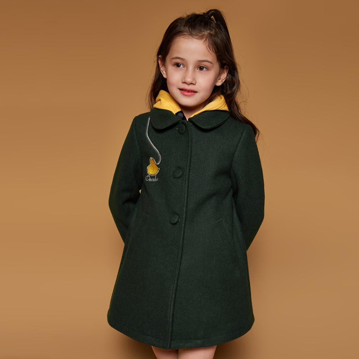 笛莎笛莎Deesha2018冬新款童装中大童外套女童中长款呢大衣711840230K9