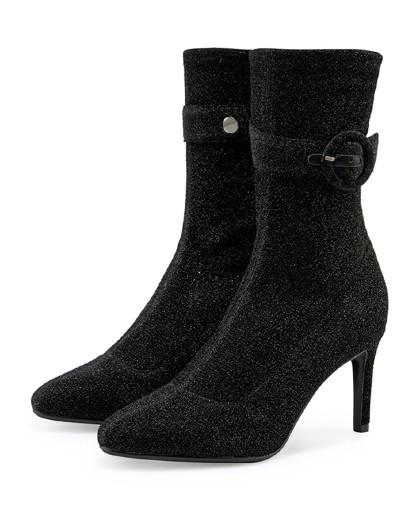 哈森2018秋款尖头针织女靴 丝绒细高跟弹力靴ha88407图片