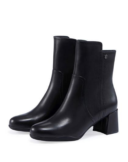 哈森2018冬季新款牛皮圆头马丁靴 粗高跟女靴ha87167图片