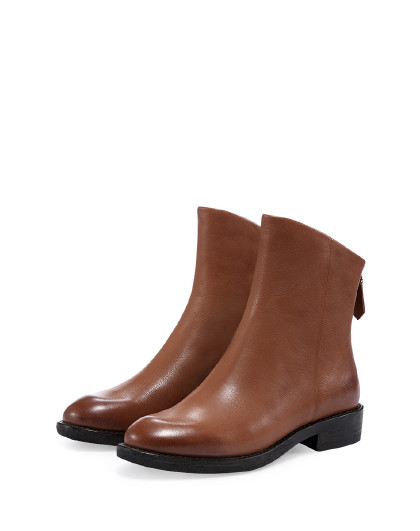 哈森2018冬季新品圆头方跟拉链低跟短靴女靴ha86411图片