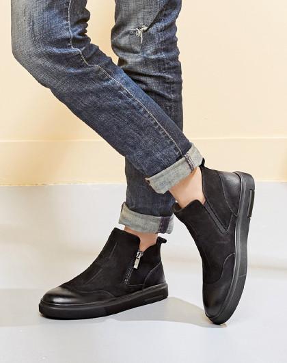 意尔康2018年高帮男鞋潮流男士短靴切尔西男靴男踝靴冬季男鞋高帮男鞋