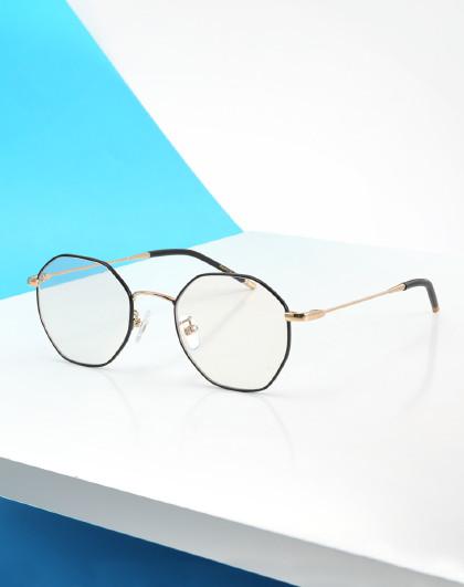 帕森 新款防辐射蓝光眼镜 金属多边形女士近视眼镜框 男士护目镜眼镜