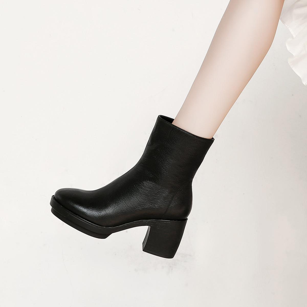 卡米冬季新款头层牛皮高跟圆头粗跟纯色女士马丁靴女靴短靴女鞋K8DBR6221BK