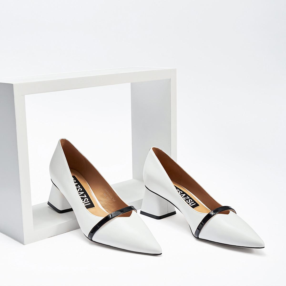 莎莎苏zsazsazsu莎莎苏2019春夏新款白色中跟粗跟单鞋ZA09119-11A0Q