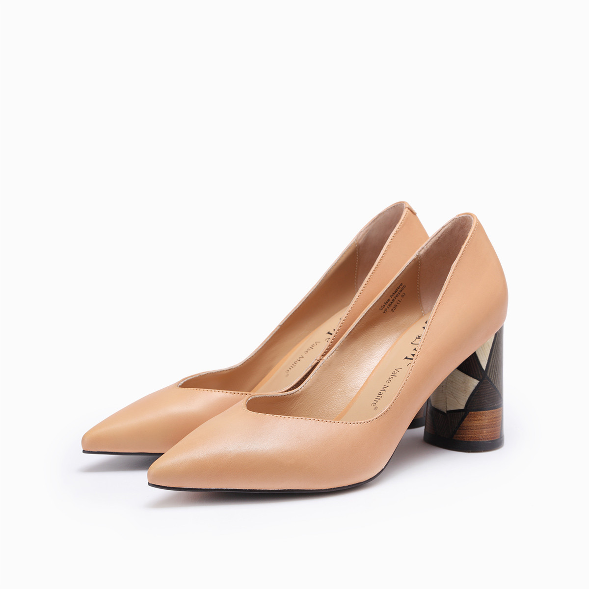 VMe春季时尚尖头图形拼色鞋跟粗高跟浅口单鞋VF18A9701025