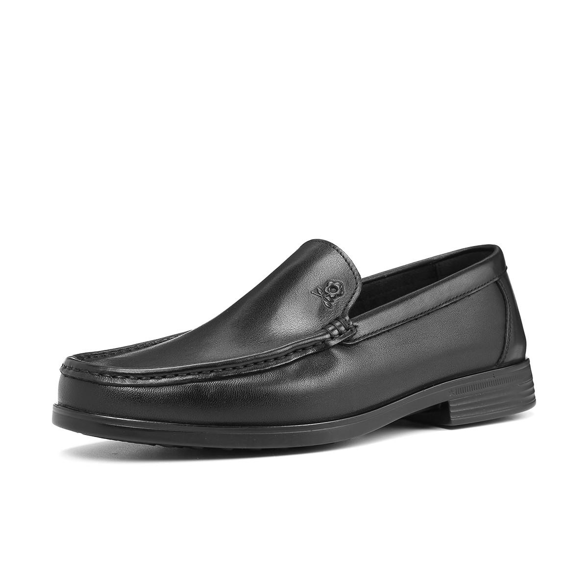 梦特娇2019新品牛皮套脚方头轻便柔软舒适经典商务鞋男鞋A61294137A