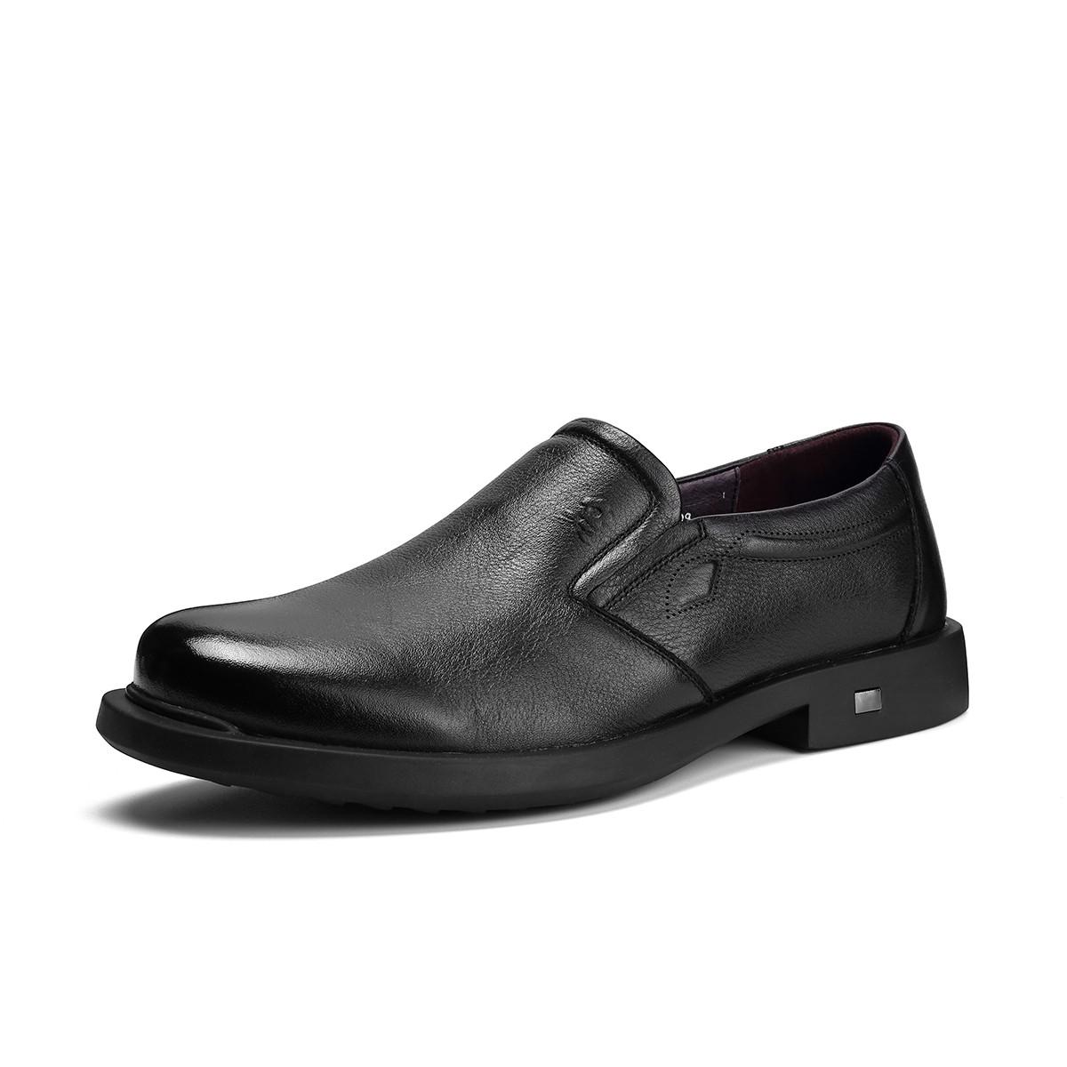 梦特娇【头层牛皮】19新品一脚蹬圆头耐磨舒适简约商务休闲皮鞋男鞋V81197872A