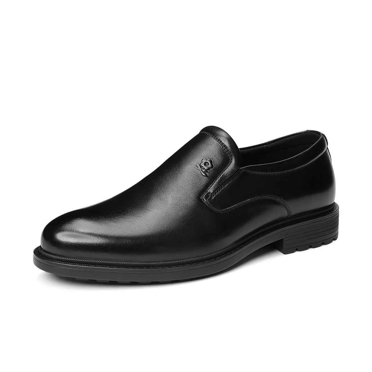 梦特娇19新品【头层牛皮】套脚圆头轻便舒适商务鞋德比鞋男鞋V81197888A