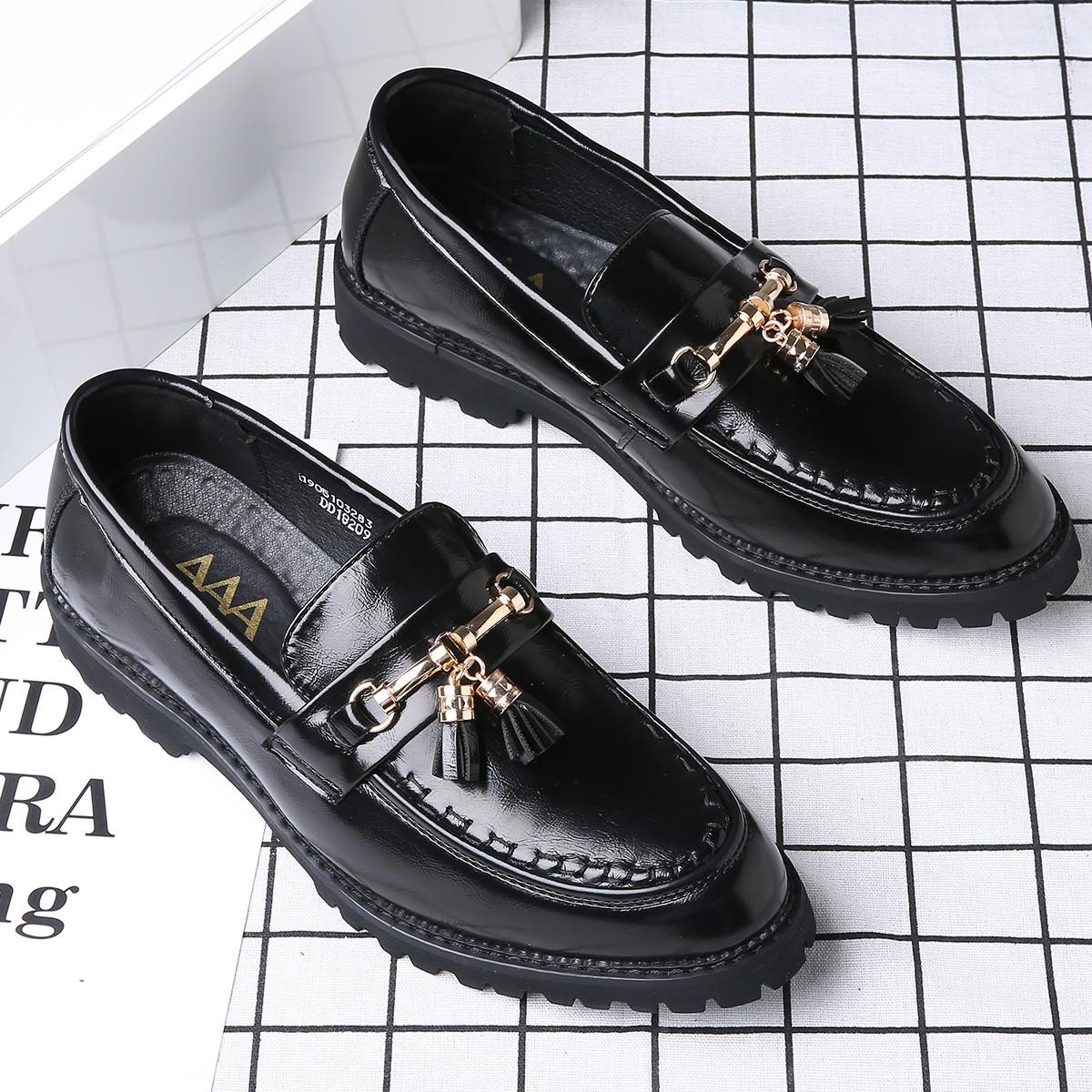 AAA休闲皮鞋男韩版发型师懒人鞋子时尚乐福鞋C18209001