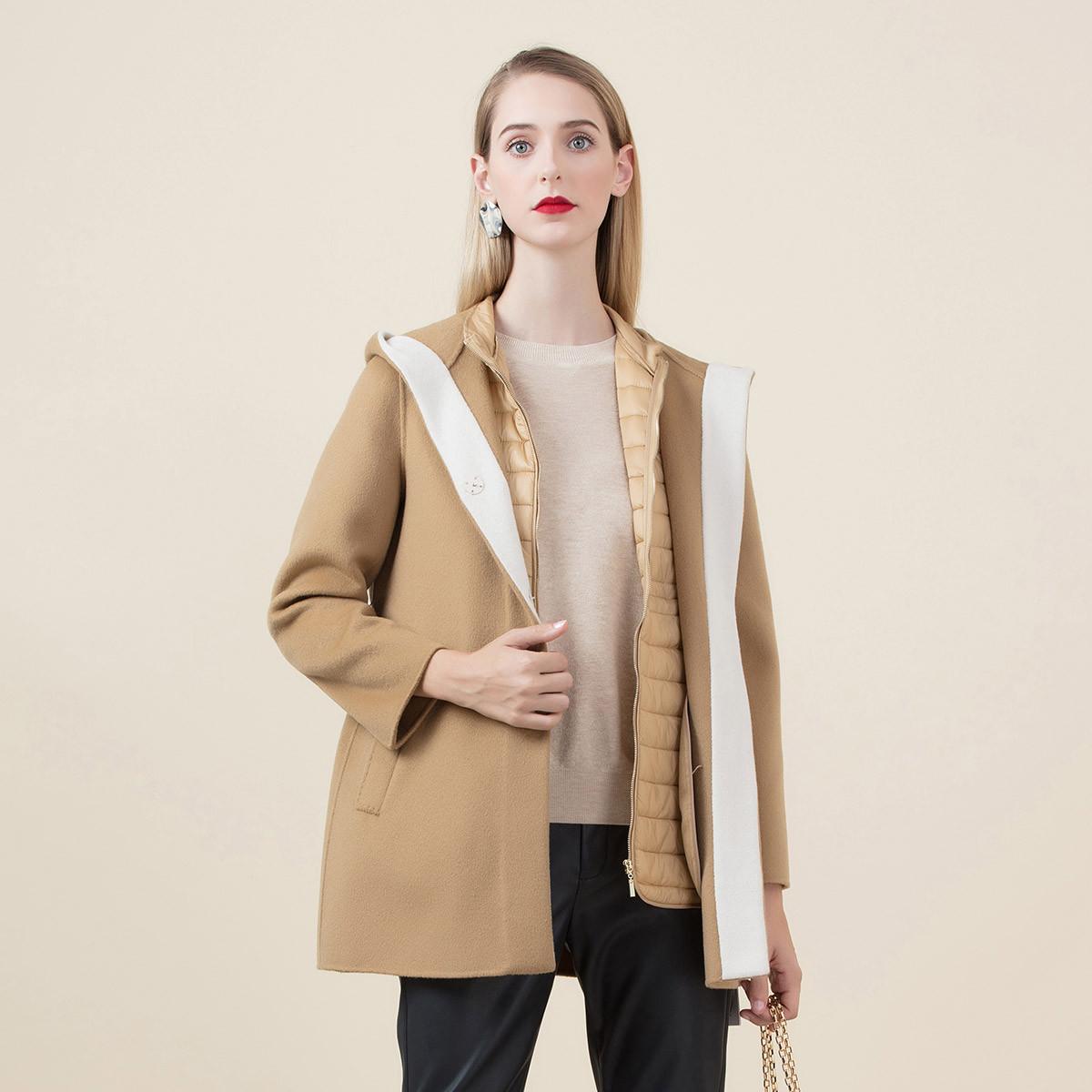 珂尼蒂思珂尼蒂思2019冬季时尚撞色优雅修身连帽短款毛呢外套女684217397-C40