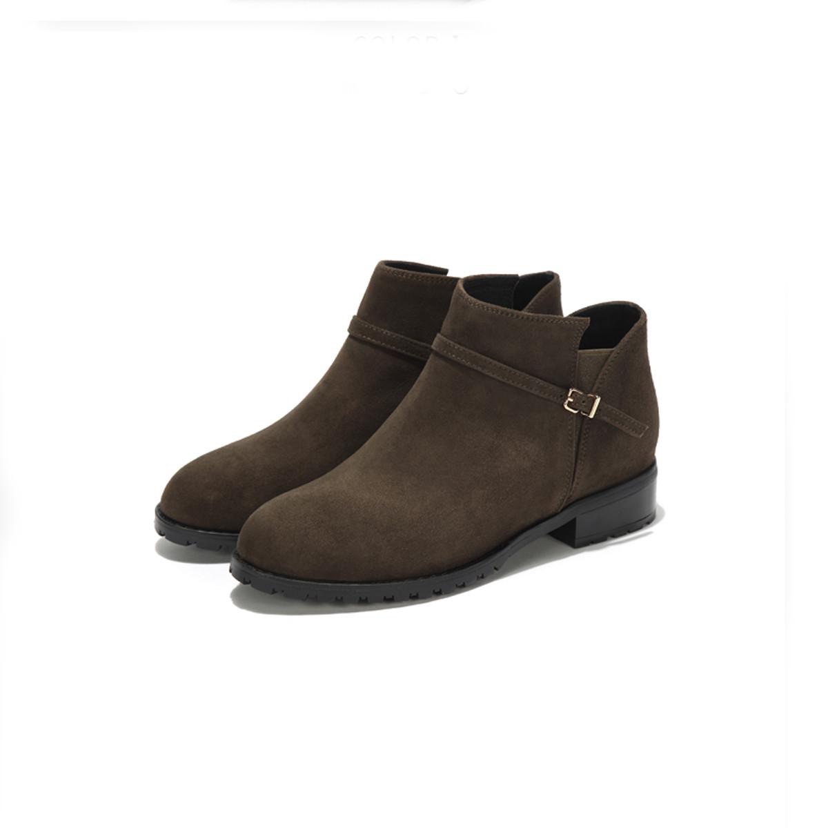 西村名物切尔西靴女短靴女及踝靴绒面英伦复古平底女靴T274S4177111