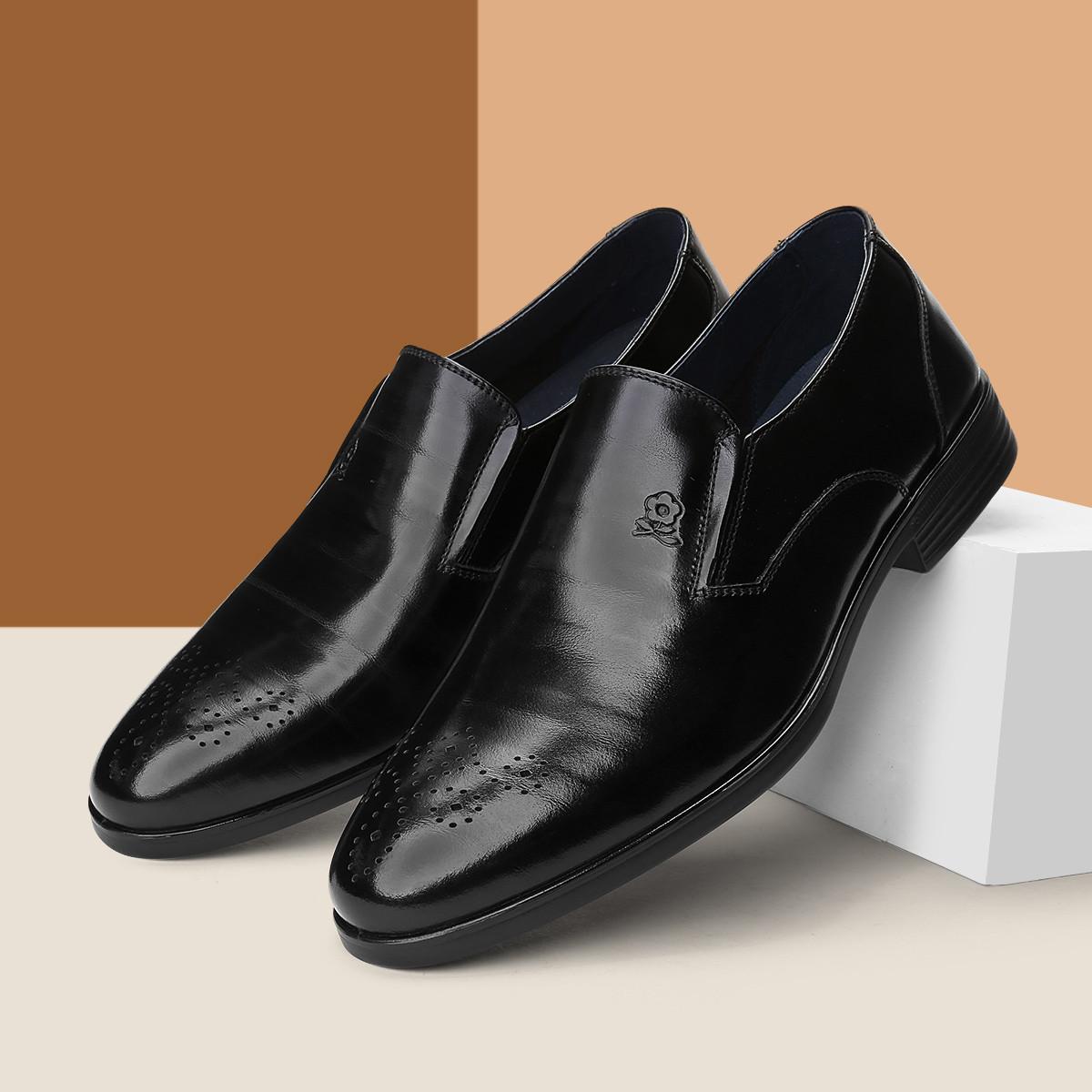 梦特娇19新品【头层牛皮】一脚蹬时尚布洛克鞋德比鞋男商务鞋男士皮鞋A61194122A