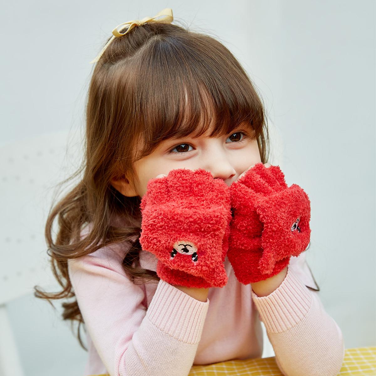 笛莎笛莎新款童装女童中大童翻盖半指19冬儿童手套25194180402