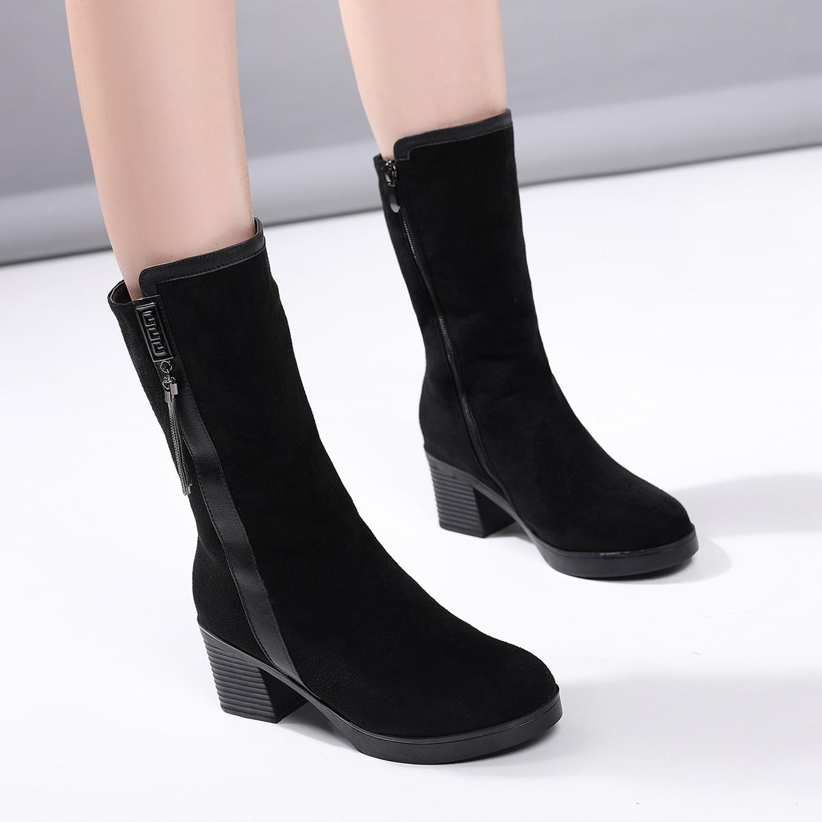 四季风【羊毛靴子】19冬季新款保暖粗跟厚底女士骑士靴子女靴中筒棉靴RIS304-01MK01