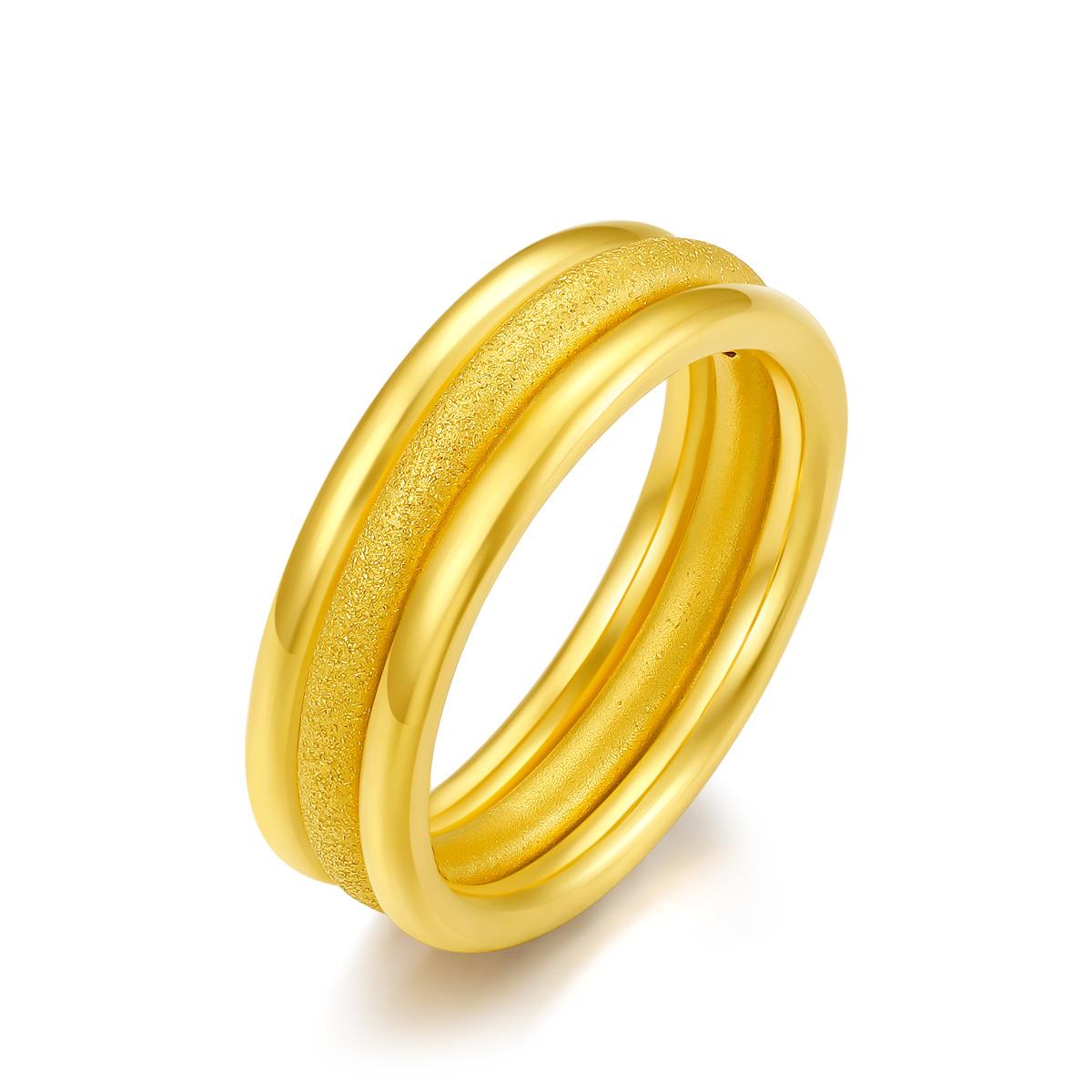 周六福【元旦礼物】周六福3D硬金戒指简约女士黄金戒指指环0129-HJJZ013