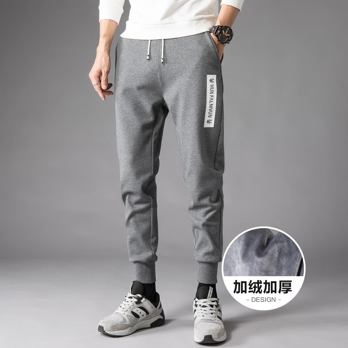 RAMPAGE冬装新品加绒加厚男款运动裤时尚休闲保暖百搭男式长裤RQ221707