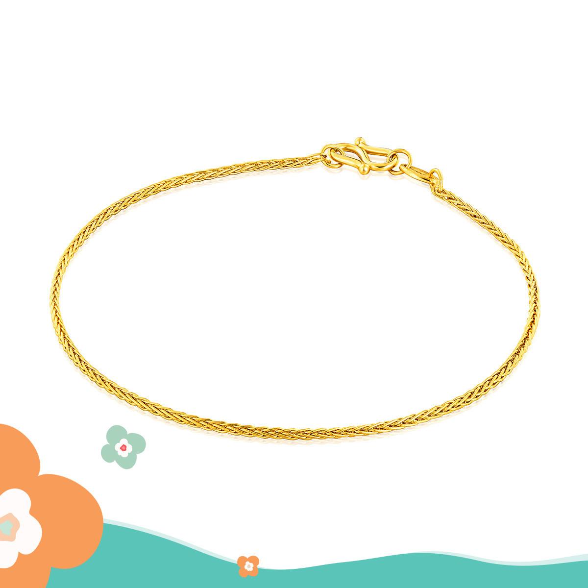 六福珠宝六福珠宝 足金百搭款肖邦黄金手链(计价)B01TBGB0014