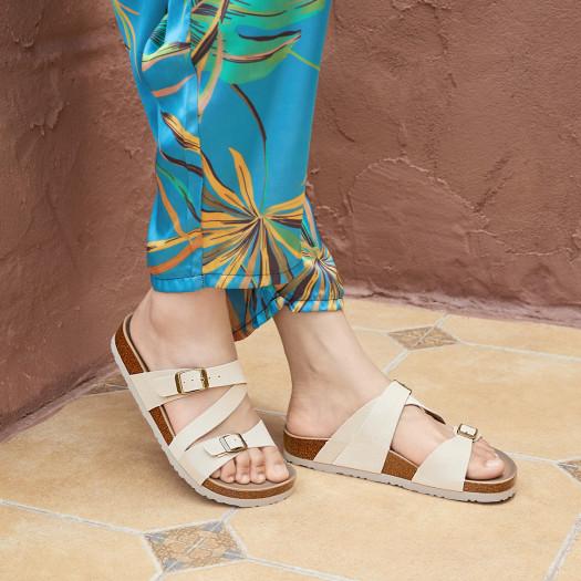 Skechers 斯凯奇 女士纯色经典沙滩平底凉拖鞋 41151