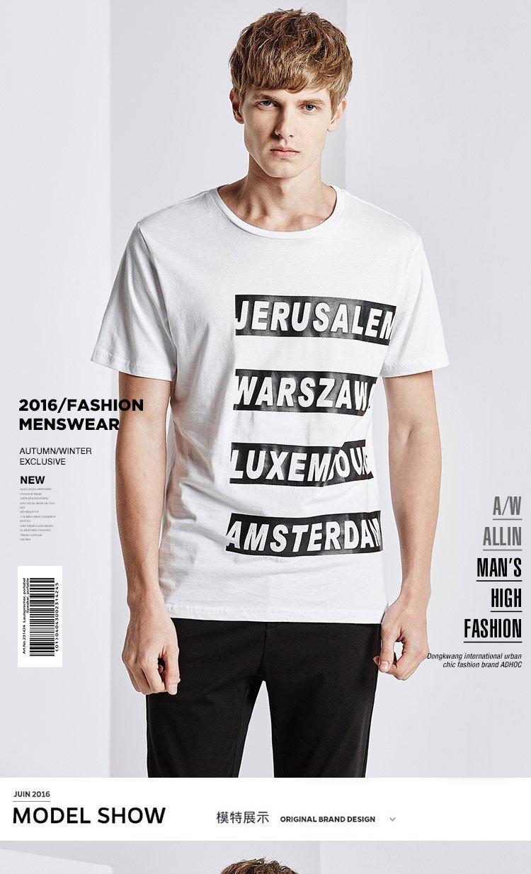 白色男款个性字母印花t恤