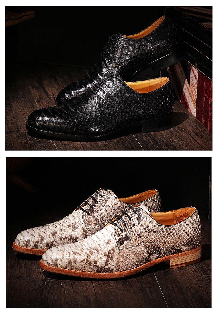 固特异手工定制皮鞋 男士蟒蛇皮高端复古商务正装皮鞋婚鞋
