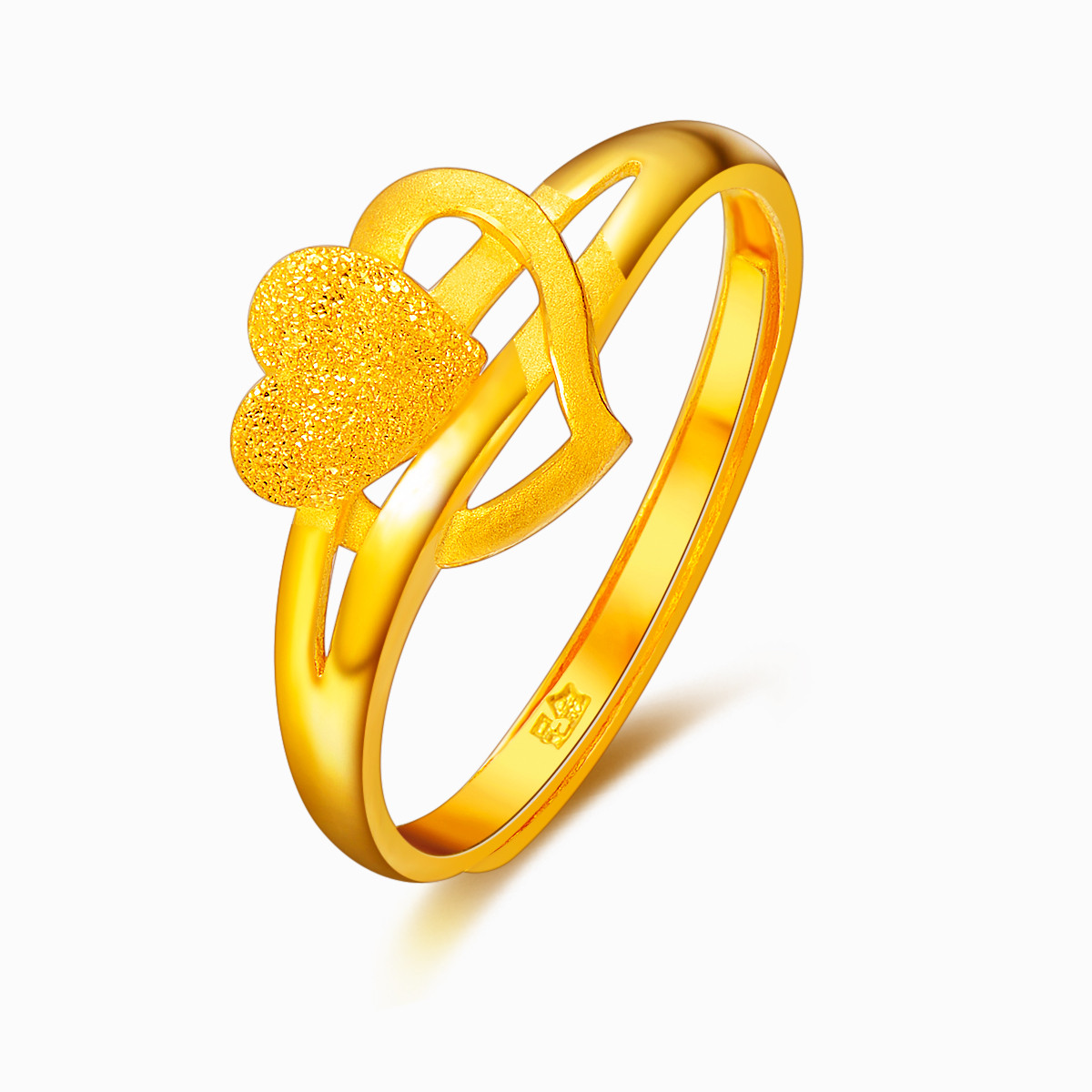 兆亮珠宝兆亮珠宝心心相印黄金 足金戒指女士食指戒尾戒GRW0P0019