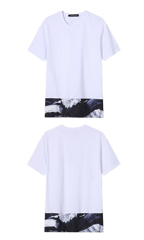 下摆花边拼接短袖t恤白色