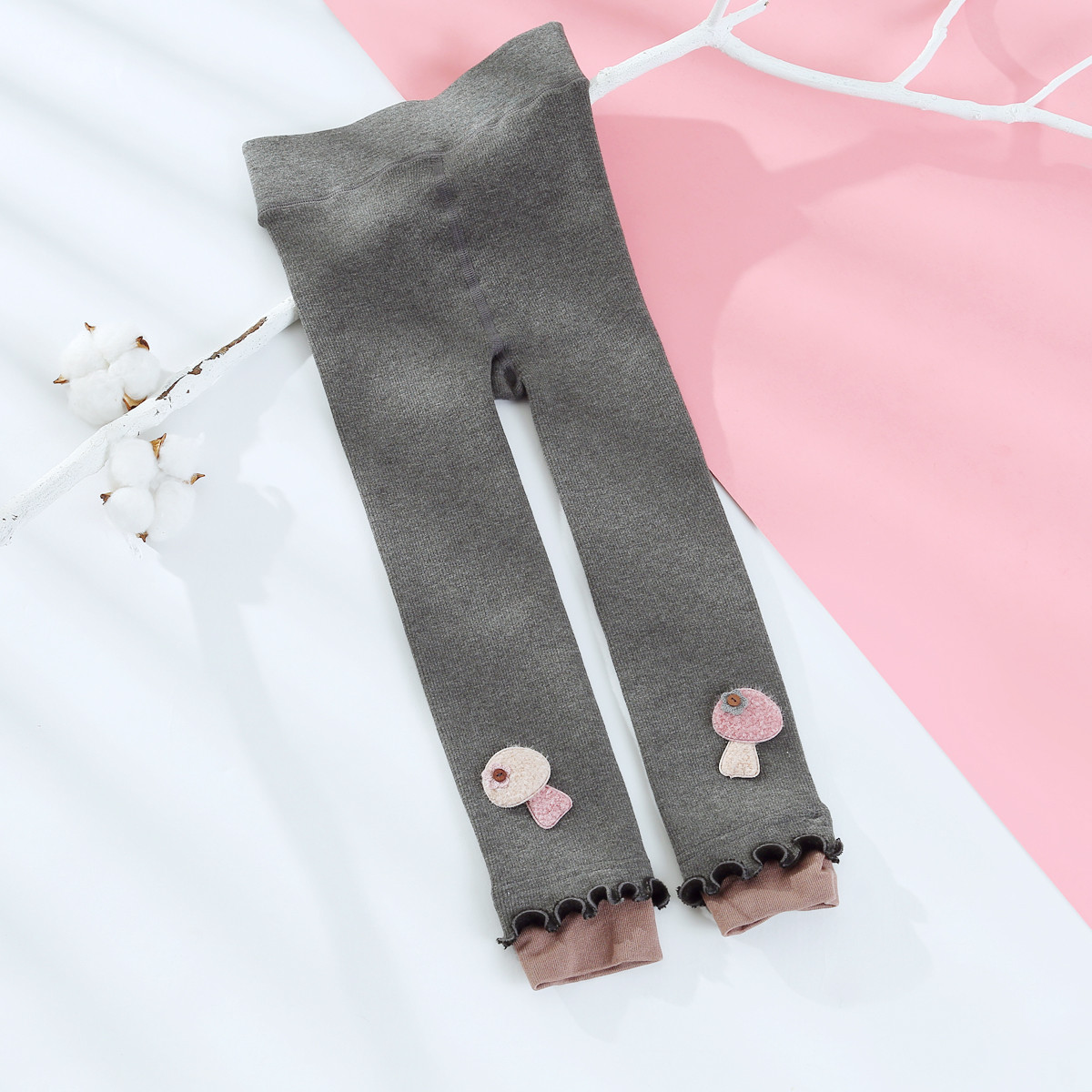 朵彩(加绒加厚)韩版儿童保暖裤 修身百搭卡通打底裤九分裤DM091192K142