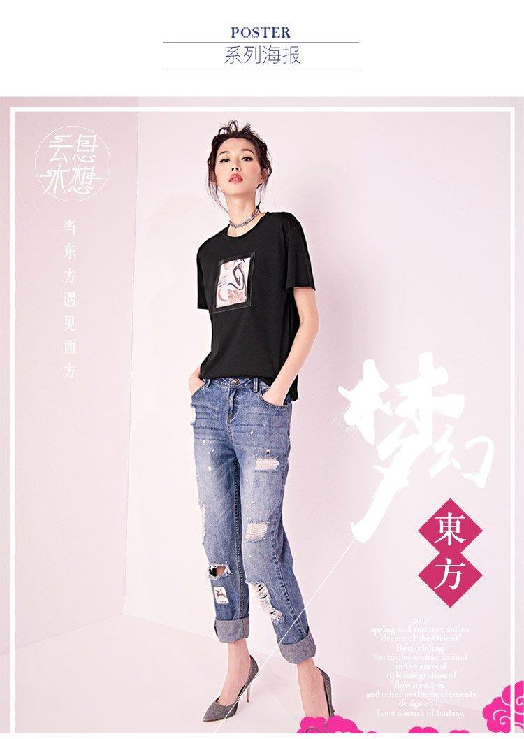 仙鹤印花皮口袋短袖h型女t恤黑色