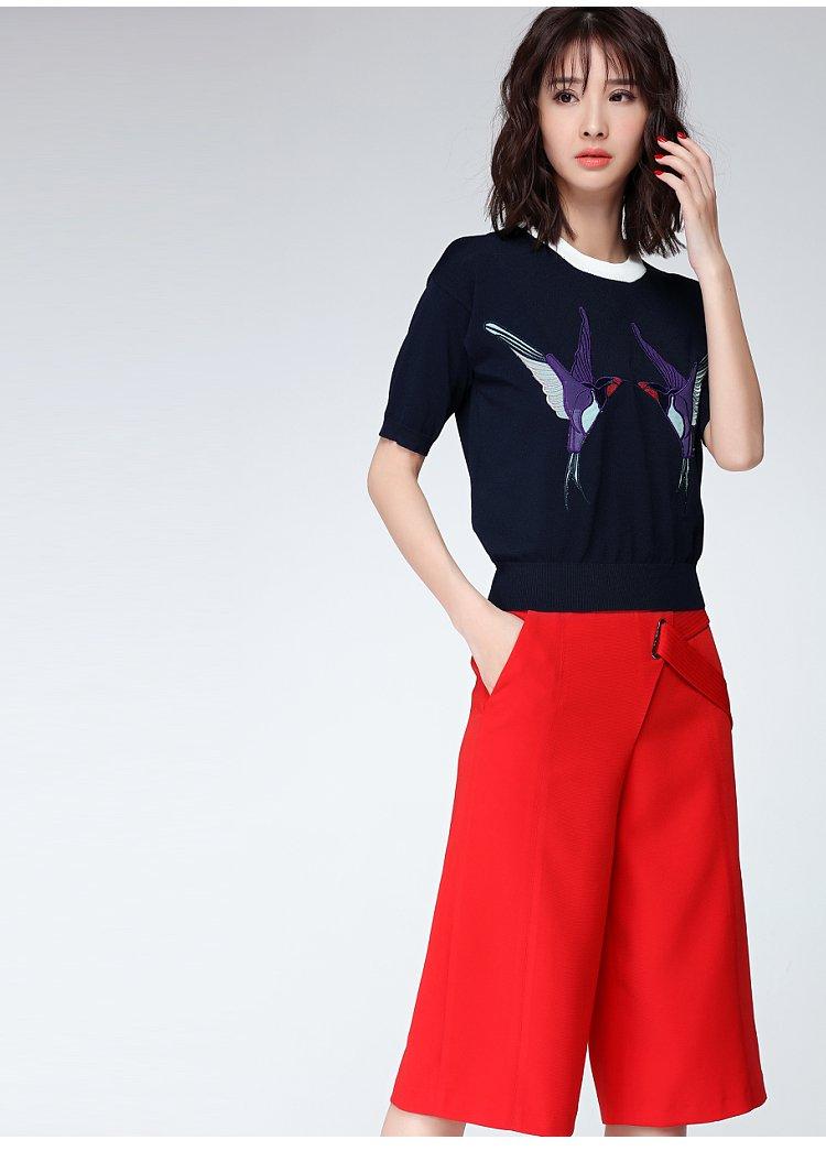 田园动物图案绣花针织t恤蓝色