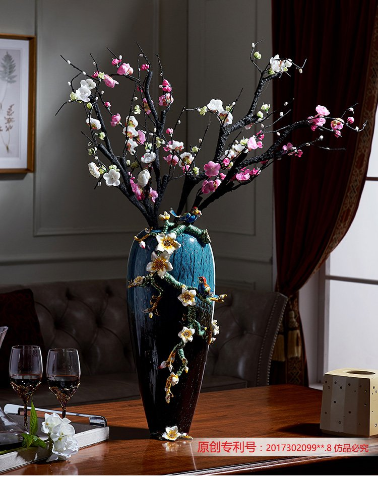 诺诗曼珐琅彩大花瓶欧式复古手工雕花大号台面琉璃花瓶茶几摆件客厅