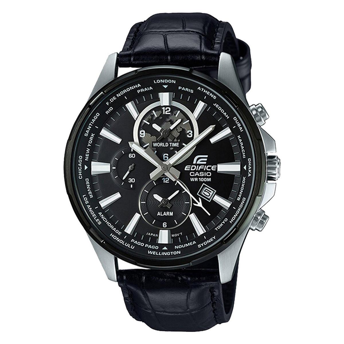 卡西欧【正品授权】卡西欧腕表EDIFICE系列时尚皮带石英男士手表EFR-304BL-1AVUPF-JX