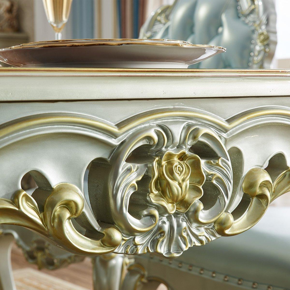 欧式香槟银实木雕花长方形餐桌椅组合