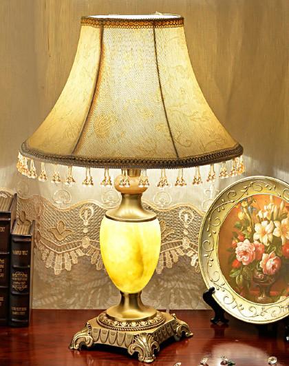 奢华欧式全铜玉石台灯客厅温馨现代简约卧室床头灯t028