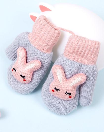 2018冬季新款针织可爱兔挂绳加绒保暖包仔儿童手套
