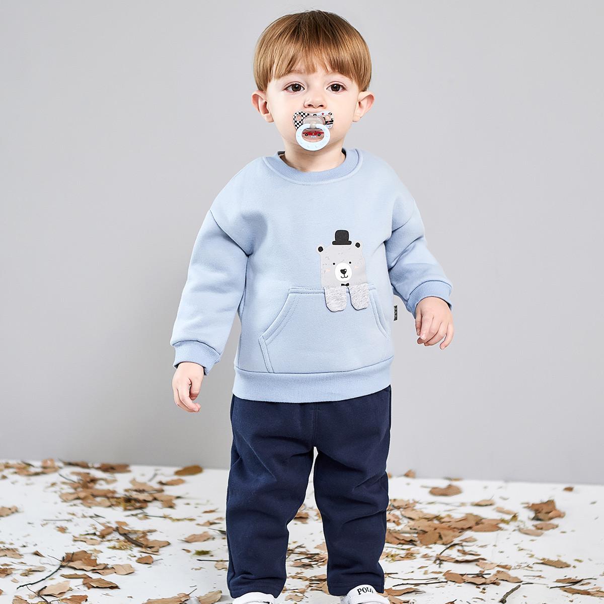 纤丝鸟纤丝鸟新款秋冬宝宝加绒卫衣套装保暖两件套外出婴儿套装THY186115662